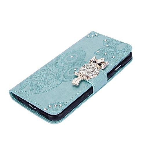 EUWLY Case Cover per iPhone 6/iPhone 6s (4.7) Custodia Portafoglio PU Pelle Libro Flip Wallet Protettivo Case Cover Brillante lucido Bling Fiore Pelle Case Glitter Diamante Gufo Custodia Cover Antipo Glitter Gufo Fiore,Verde
