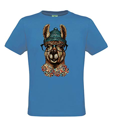 DarkArt-Designs Hippster Llama - Lama T-Shirt für Kinder und Erwachsene - Tiermotiv Shirt Wildlife Fun Party&Freizeit Lifestyle Regular fit, Größe 134/146, Azure