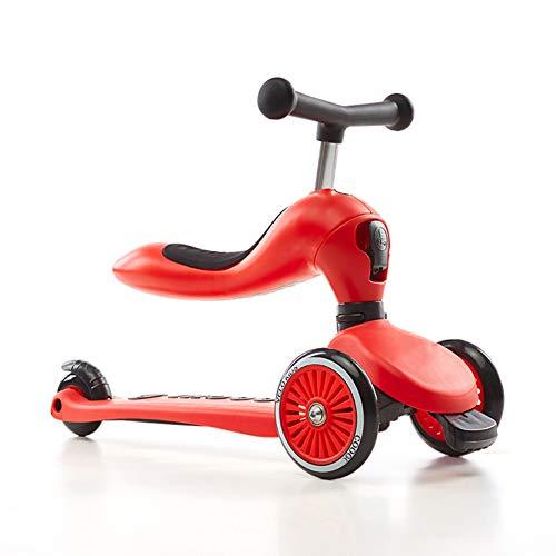 Balance Bike Laufrad,Kinderwaagenfahrzeug 3-Rad-T-Lenker Mit Verstellbarer Höhe Mit Deluxe PU-Blinkrädern - Kann Tretroller Umrüsten - Für 1-8 Jahre,Red