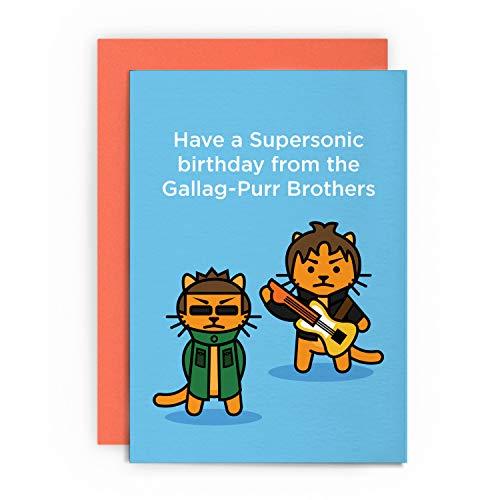 Geburtstagskarte mit lustiger Katze Oasis Noel Liam Gallagher Ehemann Junge Freund Vater Tiergruß für Ihn Her Happy LOL Pun Witz Have a Supersonic Birthday