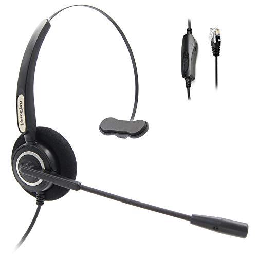 Lautstärkeregler und Mute Switch Headset Office Monaural Headset mit Mikrofon RJ9 Plug für Cisco IP Phones 794X 796X 797X 69XX Serie und 8811,8841,8851,8861,8941,8945,8961,9951,9971 etc Cisco Monaural Headset