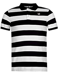 Days & Years Men's Cotton Polo T-Shirt (Medium, Black/White)