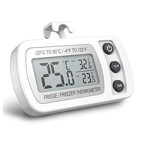 Digital Kühlschrank Thermometer, Wasserdichtes Gefrierschrank Thermometer mit Haken, Leicht lesbare LCD Anzeige, Max/Min Rekord Funktion, ideal für Zuhause, Restaurants, Cafés