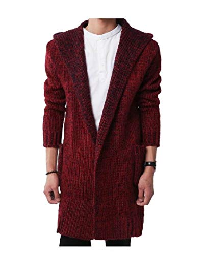 EnergyMen Knitting Hooded Cardigan Plus Size Buttonless Trench Coat Wine Red S