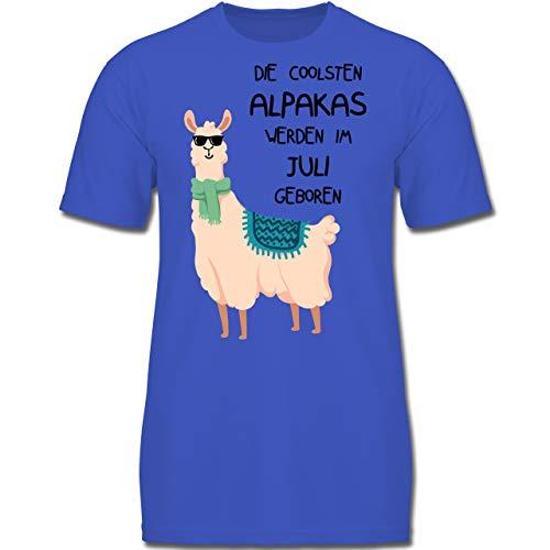 Geburtstag Kind - Die coolsten Alpakas Werden im Juli geboren Sonnenbrille - 152 (12-13 Jahre) - Royalblau - F130K - Jungen Kinder T-Shirt