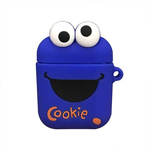 Lovely Cartoon Style Tragbare Schlüsselanhängerhülle Silikon Aufbewahrungsbox für AirPods Blue Cookie (Cookie Monster Erwachsene)