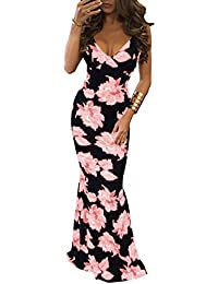 Ninimour Womens Vintage Flowers Deep V-Neck Beachwear Party Maxi Dress