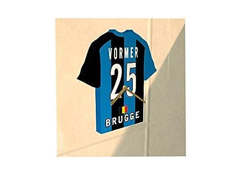 Belgian Jupiler Pro League - Horloge murale en forme de T-shirt de foot– Personnalisation gratuite: n'importe quel nom, numéro, équipe!! (Club Brugge KV)