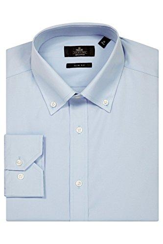 next Homme Chemise à col boutonné Bleu
