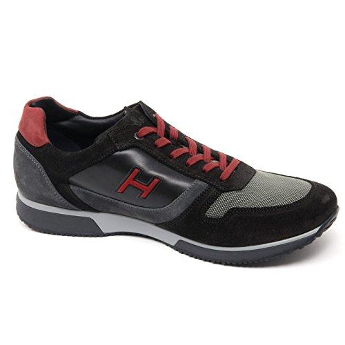 B8440 sneaker uomo HOGAN H198 SLASH H FLOCK nero/grigio shoe man Nero/Grigio