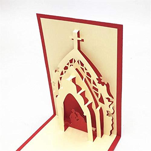 JZTRADING Souvenir di Nozze Scheda di Compleanno Pop-up con Candela Rossa Carina Biglietto di Auguri Pop-up per Auto 3D