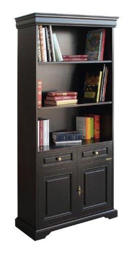 Libreria nera in legno, mobile libreria classica, 1 cassetto/2ante/2 ripiani, arredo classico moderno, per soggiorno/salotto/studio, l82xp34xh195 cm