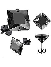 Boucles d'Oreilles Carrées en Acier Inoxydable Noir avec Pierre Noire en Zircon Cubique pour Homme. 3mm
