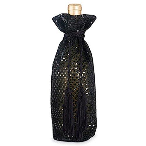 Epic 43–361schwarz, durchscheinende Stoff Flasche Geschenk Tasche mit glänzenden Pailletten &, Seil, Quaste