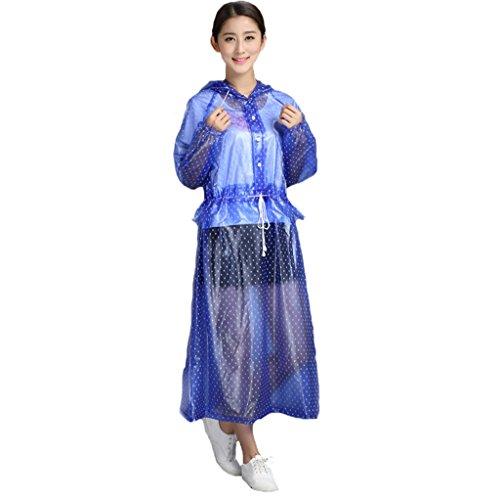 DUHUI Kapuzen-Regenmantel/Poncho Transparentes Kleid auf Fuß-Regenmantel-Pedal-elektrischer Fahrrad-Hülsen-Reise-Weg, der Mode-einzelnen Regenmantel reitet (Farbe : Purple Blue, größe : M)