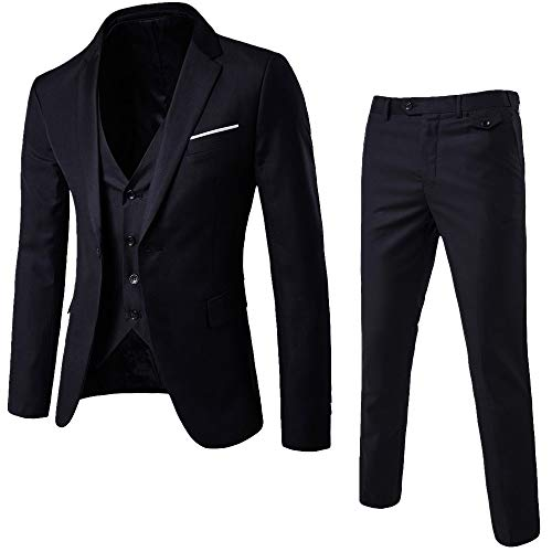 OSYARD Männer 3 Stück Anzug Suit Blazer Sakko, Herren Anzug Slim Fit Business Hochzeit Party Anzüge 3-Teilig Anzugjacke Anzughose Weste,One Button Blazer Set Smoking Jacke Weste & Hose Button Weste