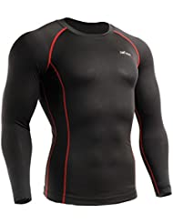 emFraa Homme Femme MMA Sport Compression Black Tight Base layer T-Shirt Long sleeve XS~XXL