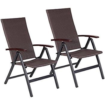 Vanage sedie a sdraio in rattan set da 2 sedie pieghevoli per giardino o terrazza con schienale - Sedie da giardino rattan ...