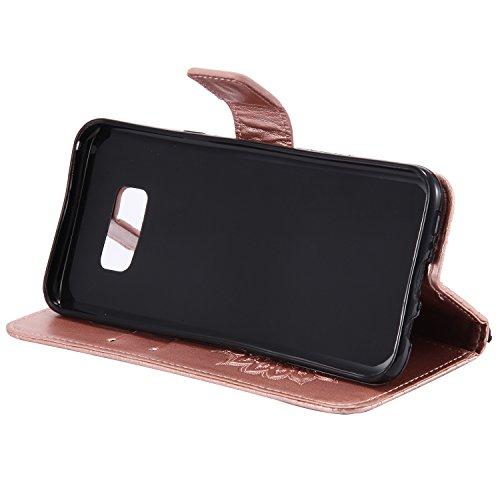 Custodia Galaxy S8 - Dfly Premium PU Goffratura Mandala Design pelle Invisibile Forte chiusura magnetica Design Flip Cover, Per Samsung Galaxy S8, Marrone Rosa Oro