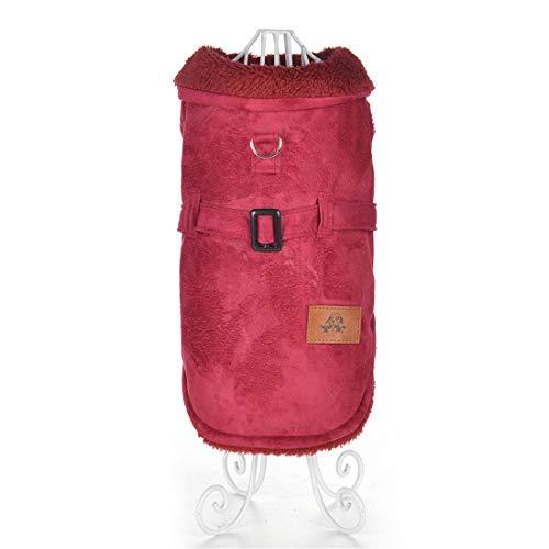 PZSSXDZW Pet Kleidung Winter Lederjacke Hundebekleidung Pet Kleidung Warm bleiben Kleidung für Hunde Red Small