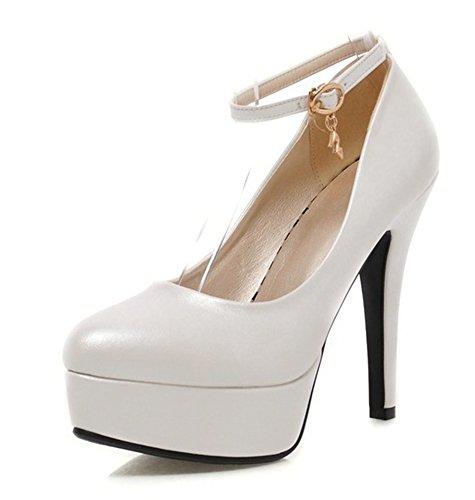 Bianco Abbastanza Anello Cinturino Piattaforma Con Aisun Donna Caviglia Tacchi 8qxP7P0