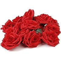 VORCOOL Artificiale teste di Rose per matrimonio casa decorazione del partito di San Valentino, 20 pezzi (rosso)