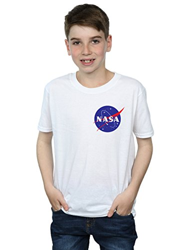 Nasa niños Classic Insignia Pocket Logo Camiseta 12-13 Years Blanco