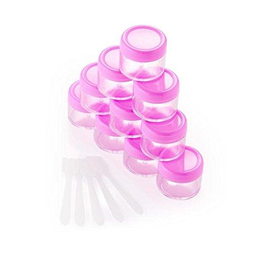 FACILLA® 10 x 20ml Pot Contenant en Plastique pr Cosmétiquqe Maquillage DIY Rose