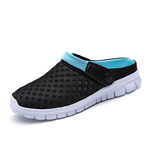 Sandalias de Playa Hombre Mujer,Zuecos de Sanitarios Zapatillas Ligeros Respirable Zapatos Verano,Negro Azul,44 EU=45 CN