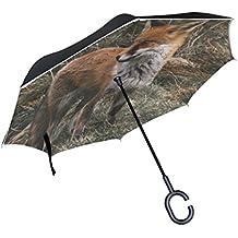 Bennigiry Paraguas inverso 10+ Paraguas invertido doble capa Fox Dad y pequeño paraguas resistente al viento protección UV con mango en forma de C, Multi#003, talla única