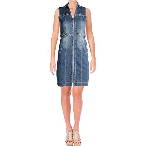 INC International Concepts Petites lässiges Kleid aus geflochtenem Denim für Damen 4 Petite Indigo -