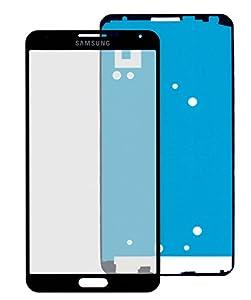 Samsung Galaxy Note 4 N910F Glas in SCHWARZ: Reparatur Set *NEU* mit Glas Scheibe und Kleber, Display black, Frontscheibe komplett, Display-glass repair kit für Note 4, Ersatzteil für Glasscheibe