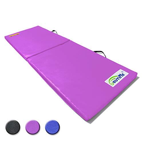 Goutime Turnmatte Faltbare Weichbodenmatte 180x60x4cm rutschfeste Fitnessmatte Gymnastikmatte Sportmatte für Erwachsenen.Purple
