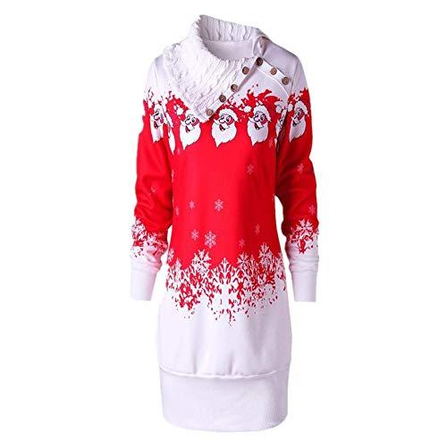 SEWORLD Weihnachten Damen Retro Christmas Weihnachtsmann Schneeflocke Drucken Große Größe Tunika Sweatshirt ()