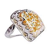 Atractivo anillo de plata de ley 925 con piedra jaspe oceánico hecho a...