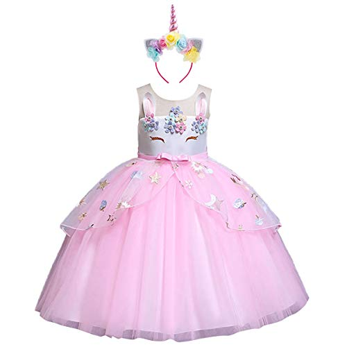 Mädchen Kleid Einhorn Haarreif Bunter Tutu Tütü Rock Cosplay Party Festzug Prinzessin Verkleidung Outfits Weinachten Faschingskostüm Ostern Easter Costume Fancy Dress Up 11-12 Jahre