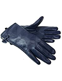 Ladies Womens New Super Soft Premium Luxary Genuine Leather Gloves Fully Lined Winter Warm Everyday Driving (Large, Blue)