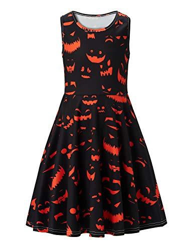 ACUCANDY Halloween Bat Druckened Ärmellos Kleid Mädchen Funny Party Kleid Schwarz