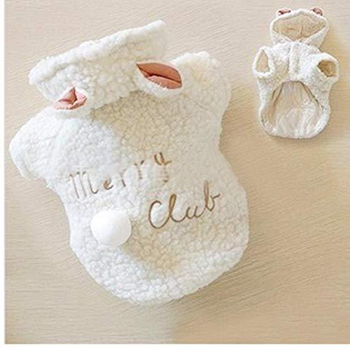 Kleiner Kostüm Schaf Hunde - Gamloious Arbeiten Sie Haustier-Kostüm Kleine Hunde-Kleidung-Mantel-weiße Schafe Puppy Hoodie Chihuahua Kleidung warm im Winter Bekleidung XS S M L XL Weiß XS