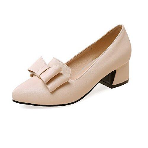 AllhqFashion Damen Spitz Zehe Ziehen Auf Pu Mittler Absatz Pumps Schuhe Aprikosen Farbe
