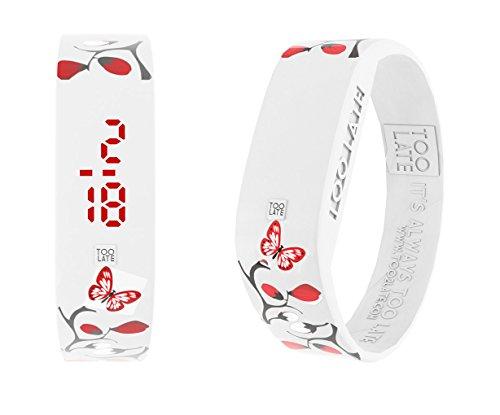 too 2 late Unisex Erwachsene Analog-Digital Uhr mit Silikon Armband LED JAP Flower S