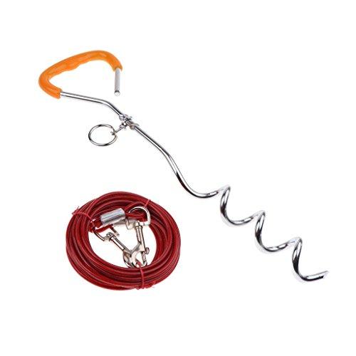 perfk Estaca para Perro Mascota Easyturn Estaca con Cable Resistente de Fijación - 6 mm x 5m Rojo