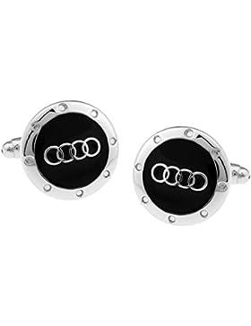 Bodega Runde Manschettenknöpfe mit Audi-Logo, Herren, Silberfarben/ Schwarz