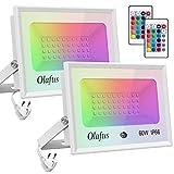 Olafus 2 Pezzi 60W Faretto LED RGB da Esterno 16 Colori e 4 Modalità Funzione di Memoria Dimmerabile con Telecomando Proiettore LED Colorato IP66 Impermeabile Per Natale Festa Party