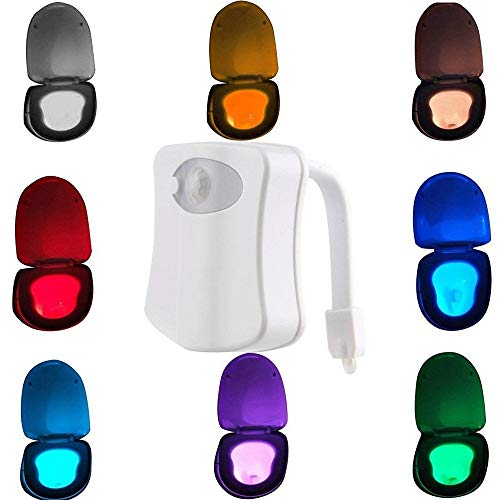 Zhixuan 2 Stücke Wc Nachtlicht LED Sensor Bewegung Aktiviert Wc Licht Batteriebetriebene 8 Farben Ändern Nachtlicht Wc Bowl Licht