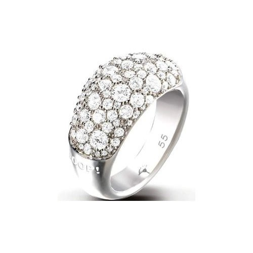 JOOP Ring Silber small und geschwungen mit weißen Pavee JPRG90499A