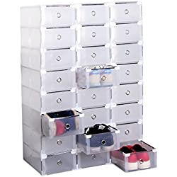Homgrace Rangement de Chaussure, Lot de 20 boites a tiroir Transparente Pliable et Penderie Etagère à Chaussures Modulable DIY empilable Robustes pour la SDB, Garage, Chambre, Salon