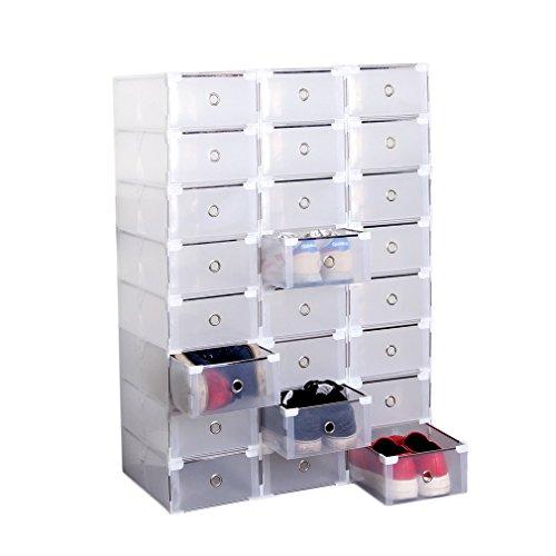 durchsichtige schuhkartons Homgrace Schuhbox Schuhkarton 24er Set Transparent Plastik Schuh Boxen Faltbare & Stapelbare DIY Schuhschachtel Schuhaufbewahrung Schuhkasten, 31 x 20 x 11 cm (24 Stück)