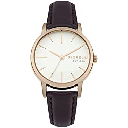 Fiorelli Women's Quartz Watch with White Dial Analogue Display and Purple Leather Strap FO027VRG