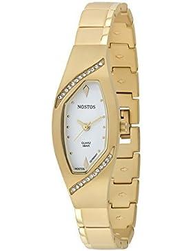 Nostos Titan by Osco Germany Noble Armbanduhr Damenuhr vergoldet Titan Weiß Steinchen NOS06143001